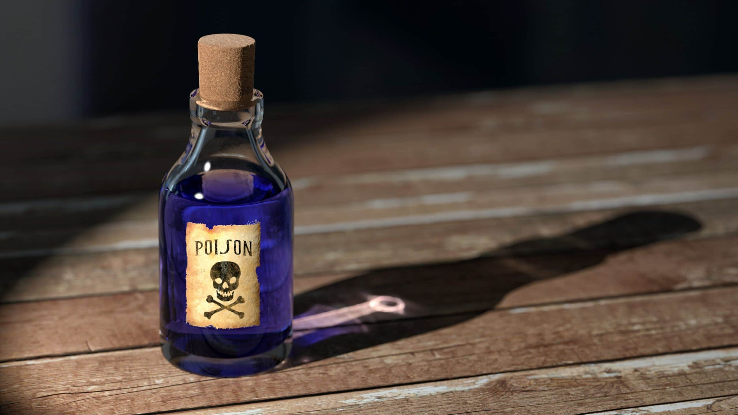 bottle labeled poison