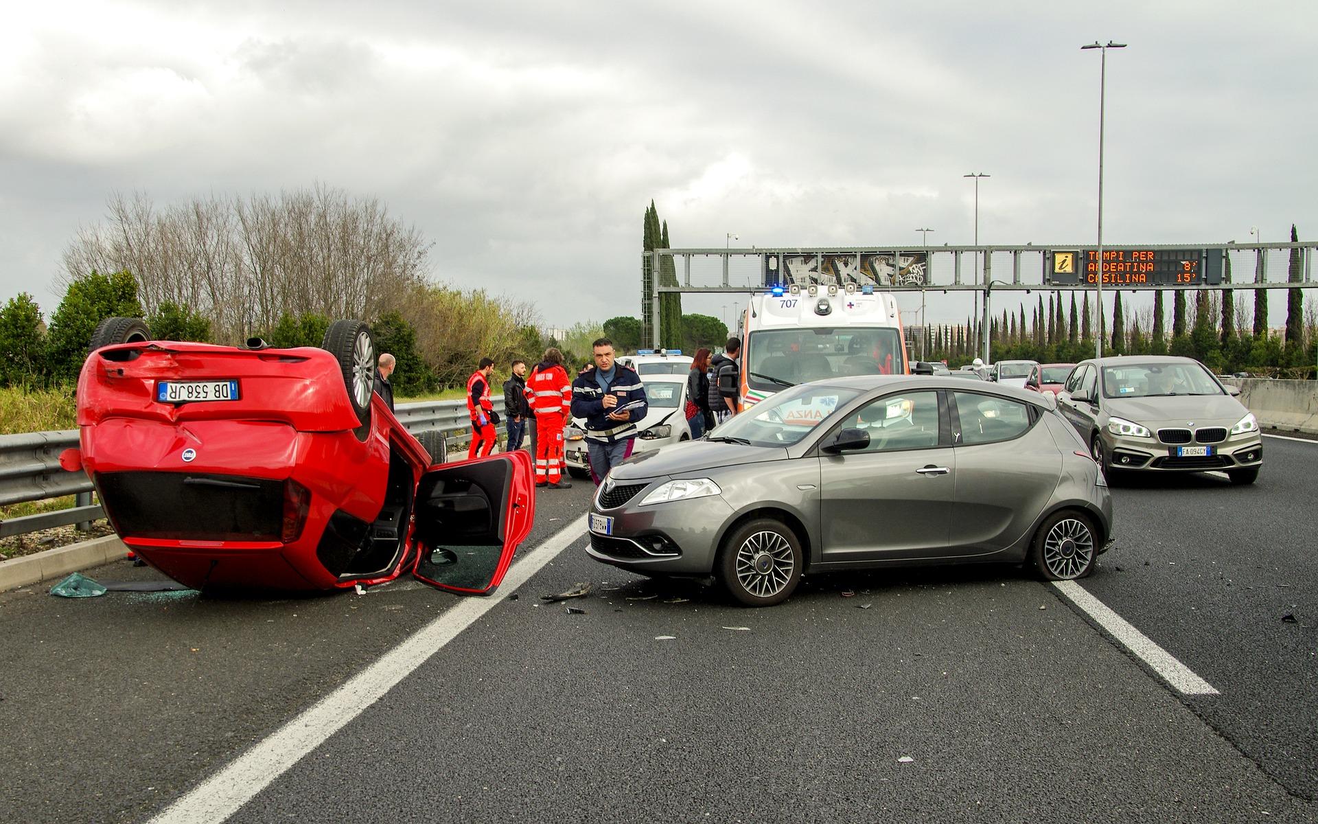car crash on highway