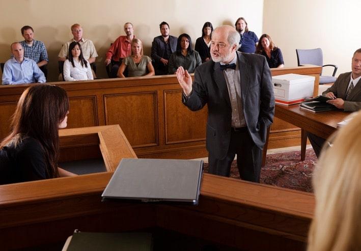 man in court room